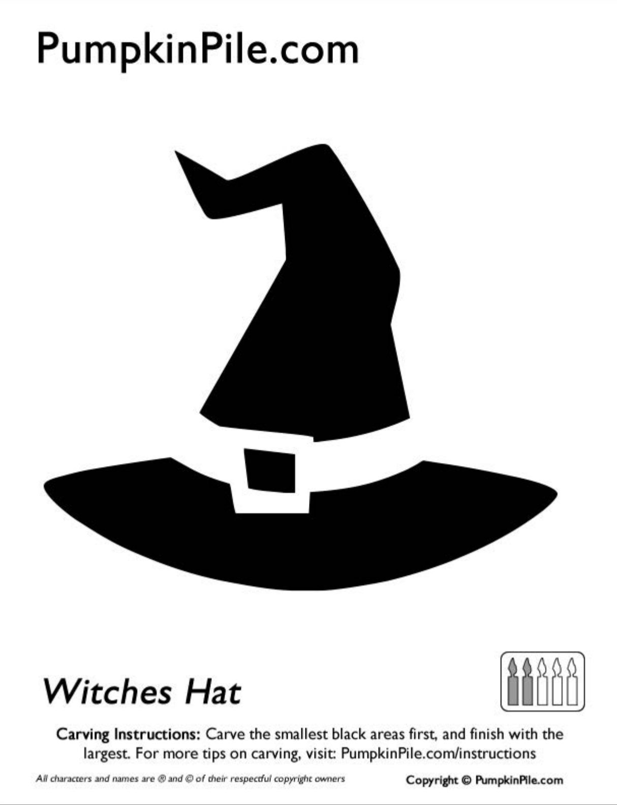 16 easy to use pumpkin carving stencils to help you win halloween witches hat click on the image to download the template maxwellsz