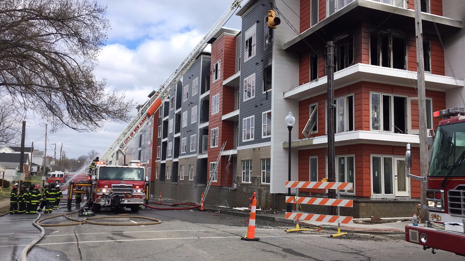 New Albany luxury apartment building heavily damaged following