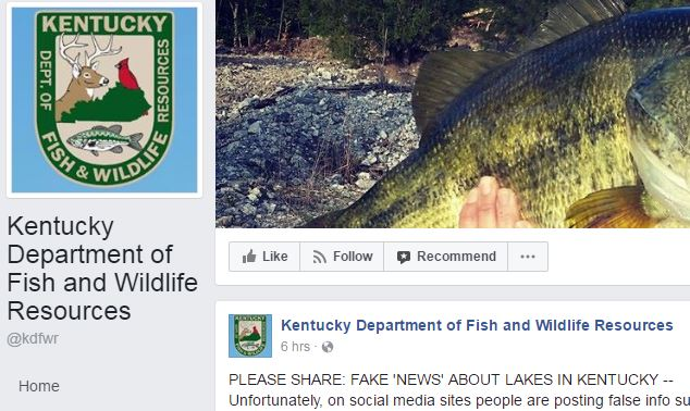 ky fish and wildlife resources warns about shark hoax
